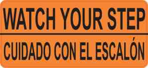English Spanish Watch Your Step Sticker