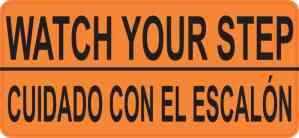 English Spanish Watch Your Step Sticker