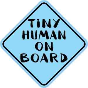 Blue Tiny Human on Board Sticker