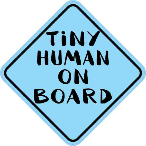 Blue Tiny Human on Board Magnet