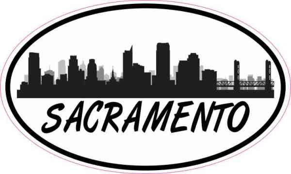 Oval Sacramento Skyline Sticker