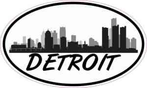 Oval Detroit Skyline Sticker
