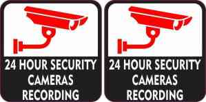 Red and Black 24 Hour Security Cameras Recording Stickers