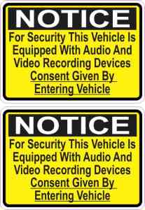 Yellow Audio And Video Recording Consent Stickers