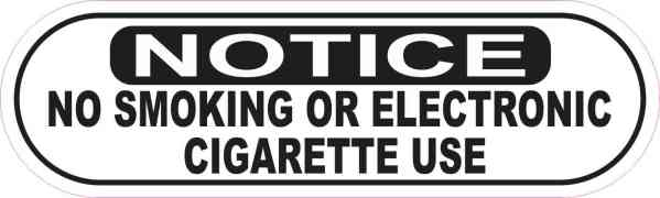 Oblong Notice No Smoking or Electronic Cigarette Use Sticker