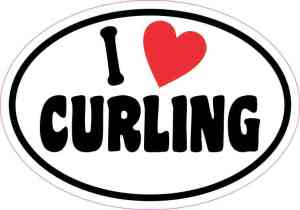 Oval I Love Curling Sticker