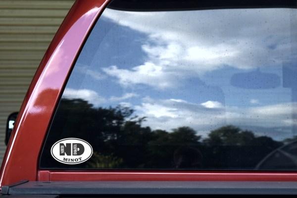 Oval ND Minot North Dakota Sticker