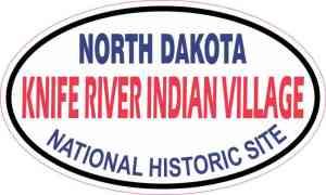 Oval Knife River Indian Village Sticker