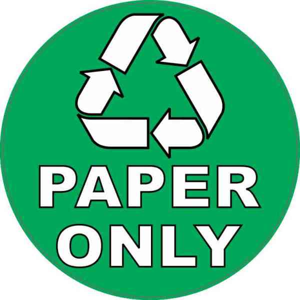 Paper Only Recycling Sticker