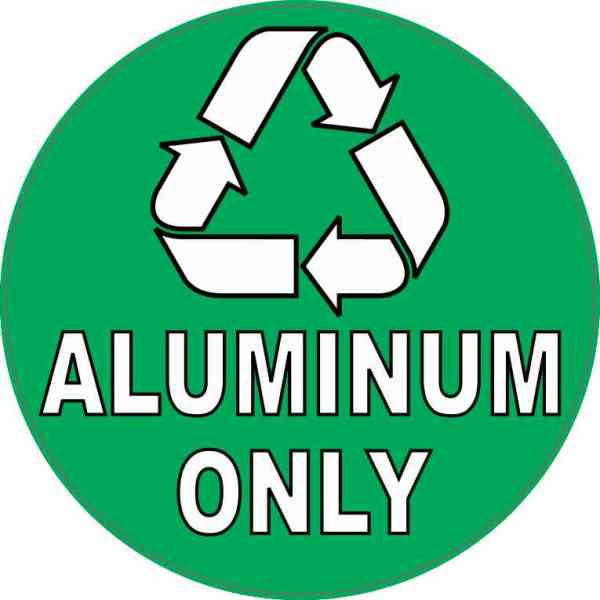 Aluminum Only Recycling Sticker