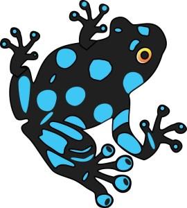Blue and Black Dart Frog Sticker