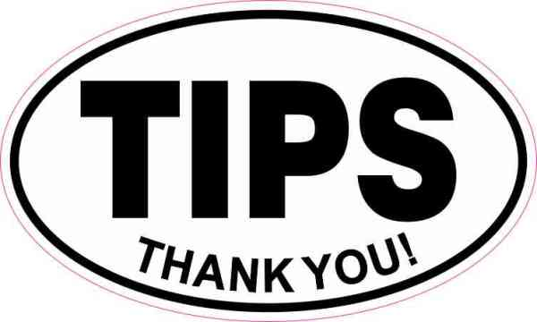 Oval Thank You Tips Sticker