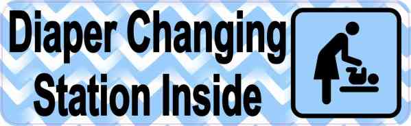 Blue Diaper Changing Station Sticker