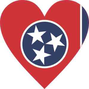 Tennessee Flag Heart Sticker
