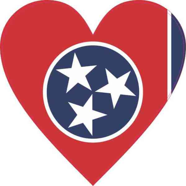 Tennessee Flag Heart Sticker