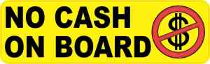 No Cash on Board Sticker