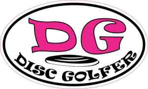 Pink Oval Disc Golfer Sticker