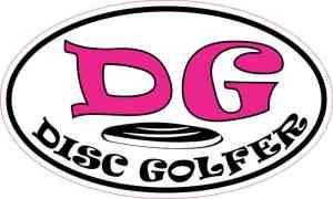Pink Oval Disc Golfer Sticker