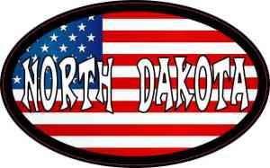 Oval American Flag North Dakota Sticker