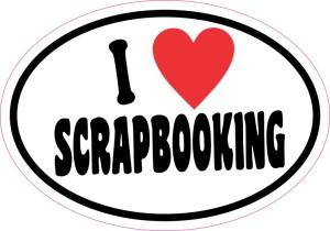 Oval I Love Scrapbooking Sticker