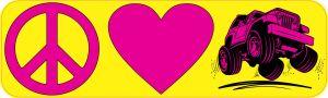 Peace Love Off-Roading Bumper Sticker