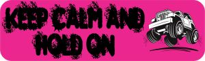 Pink Keep Calm Hold On Bumper Sticker