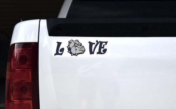 Love Blue Bulldog Bumper Sticker