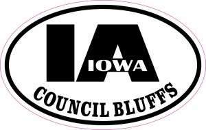 Oval IA Council Bluffs Iowa Sticker