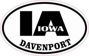 Oval IA Davenport Iowa Sticker