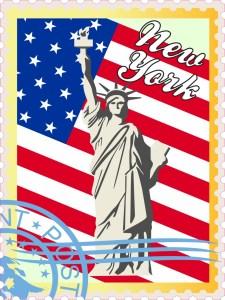 US Flag New York Stamp Vinyl Sticker
