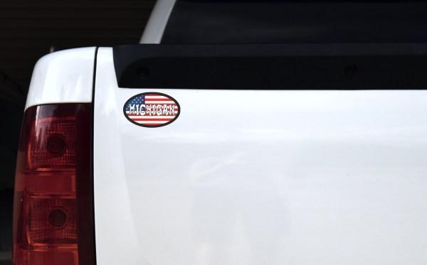 Oval US Flag Michigan Sticker