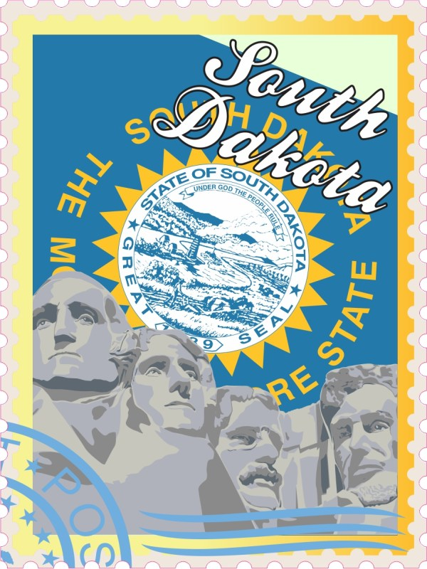 South Dakota Stamp Vinyl Sticker