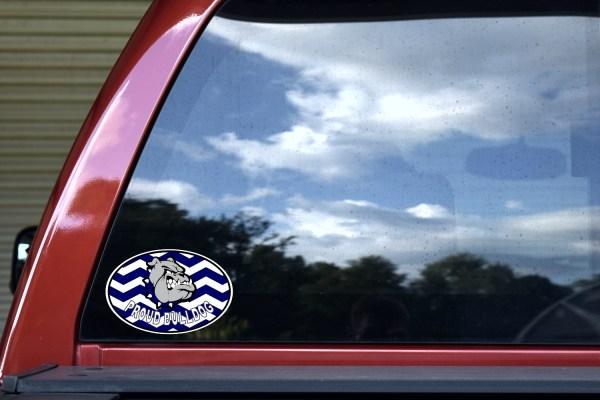 Blue Chevron Proud Bulldog Sticker