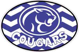 Chevron Oval Cougars Mascot Vinyl Sticker