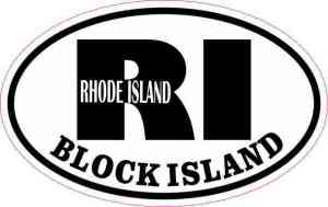 Oval RI Block Island Vinyl Sticker