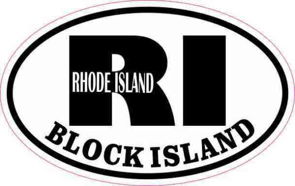 Oval RI Block Island Vinyl Sticker