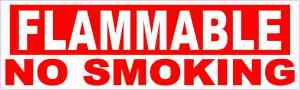 Flammable No Smoking Vinyl Sticker