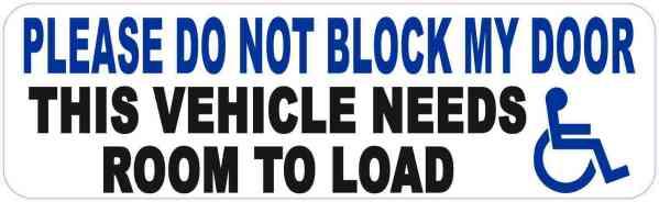 Handicap Do Not Block Door Vinyl Sticker