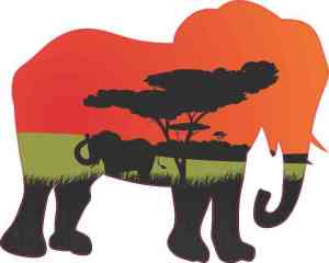 Serengeti Elephant Vinyl Sticker