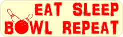 Eat Sleep Bowl Repeat Vinyl Sticker