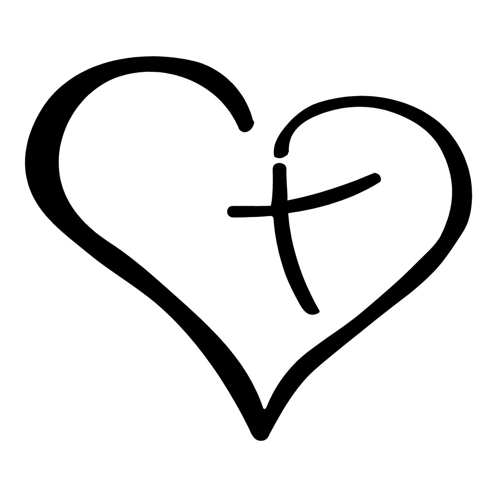 Heart Cross Religious Sticker