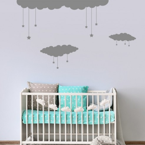 kit stickers nuages etoiles decoration enfant et bebe