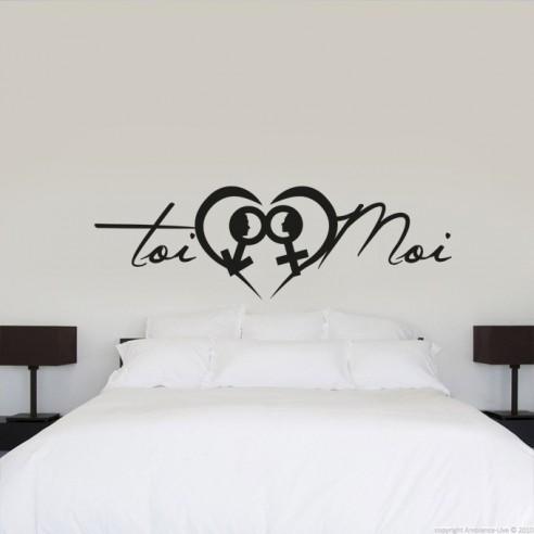 stickers de decoration toi et moi pas cher stickers tete de lit