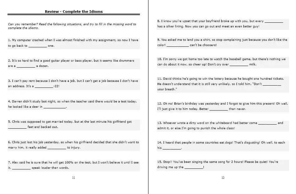 ESL Phrasal Verbs: Handouts and Worksheets -