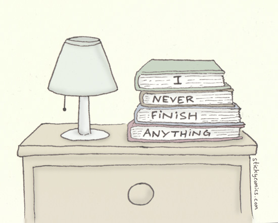 This drawing is a lie. I have at least three times more books than this on my nightstand.