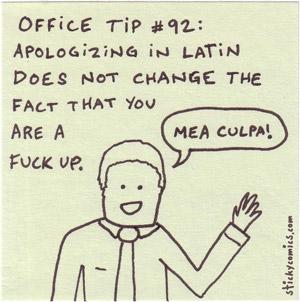 mea culpa - apologizing in latin