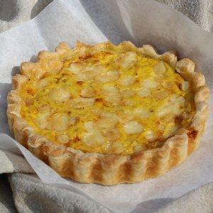 Gruyere, saffron and onion pie