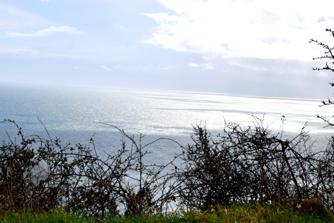 View of the sea from the cliffs surrounding the Jurassic Coast.