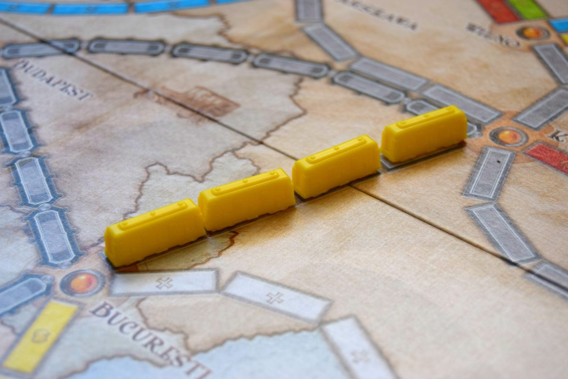 Yellow train carriage pieces.