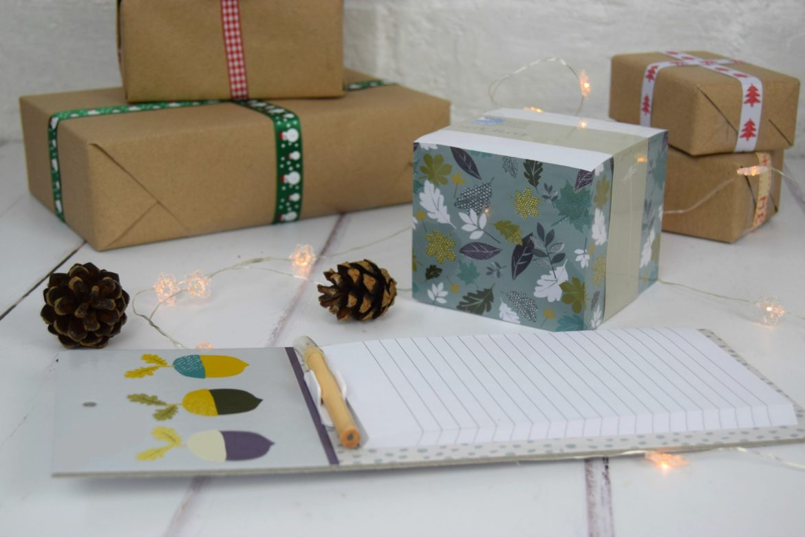 RSPBC homeware gifts. A jotter block and a magnetic memo board with woodland print.